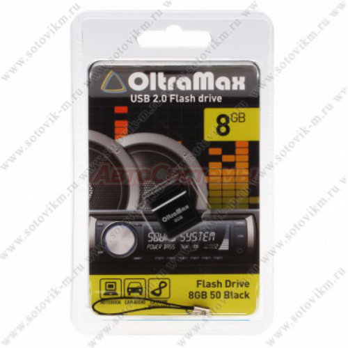 Флеш-накопитель 8gb oltramax usb 2.0 drive 50 mini black