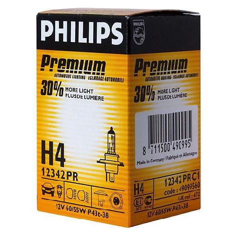 Автолампа h4 (60/55) p43t-38+30% premium 12v philips /10/100 hit (p-12342pr)